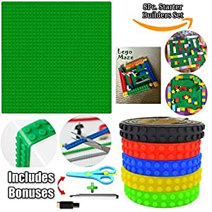 Lego Tape Rolls and Baseplate STARTER SET For Building Blocks BONUS Scissors, Marker & DIY GUIDE 5 Self Adhesive Reusable Silicone Brick Toy Sticky Strips 1 Maze Board For Kids Wall Table Desk