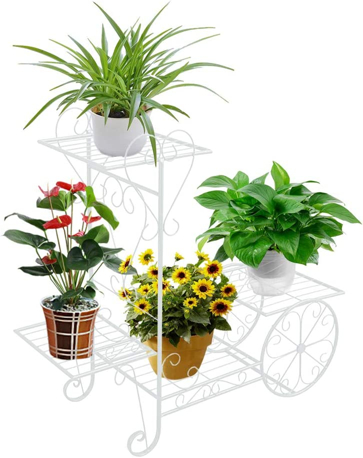 ZZBIQS Garden Cart Display Rack Plant Stand, Metal 4 Tier Plant Stand Holder for Indoor Outdoor Home Balcony(White)