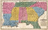 School Atlas | 1839 Map of the Southern States. | Historic Antique Vintage Reprint