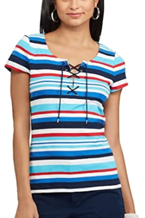 e252cc09f20 Chaps Women s Short Sleeve Striped Lace-Up Tee at Amazon Women s Clothing  store