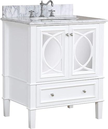 Olivia 30-inch Bathroom Vanity Carrara/White   Includes White Cabinet