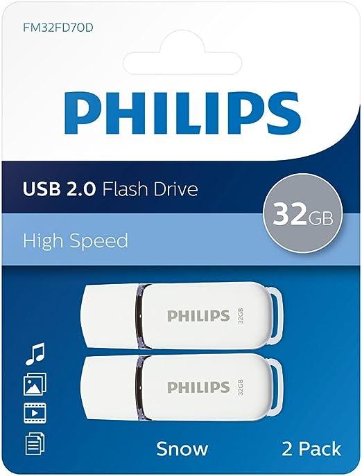 Philips Pack 2 USB 2.0 32GB Snow Edition Grey: Amazon.es: Electrónica