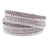 Silver & Post Women's Gray Genuine Leather Wrap Bracelet with Crystals from Swarovski, Gift Box Included