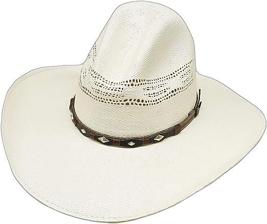 Modestone Unisex Feather Bangora Straw Cowboy Hat Off-White