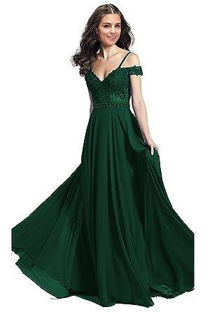 JoyVany Women Off Shoulder Beading Off Shoulder Prom Dresses Long 2019 Formal Gowns Emerald Size 2