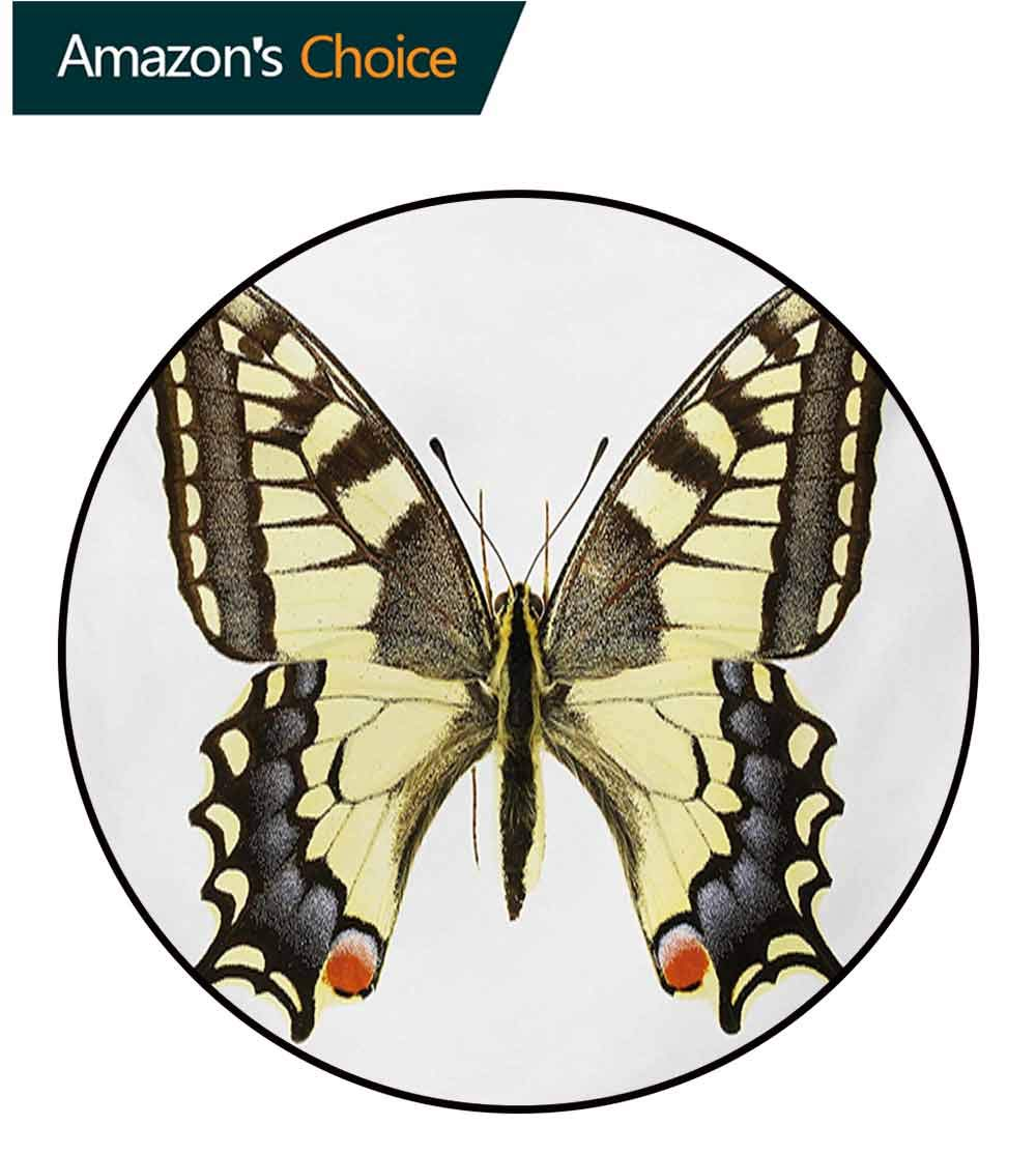 RUGSMAT Swallowtail Butterfly Non-Slip Area Rug Pad Round,Yellow Papilio Machaon Old World Swallowtail Wildlife Biology Protect Floors While Securing Rug Making Vacuuming,Round-59 Inch