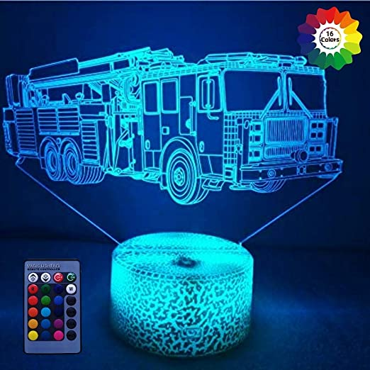 Car Gifts for Boys 3D Night Light 3D Illusion Lamp Fire Fighting and 7 Color Change Decor Lamp Xmas Birthday Gifts for Kids