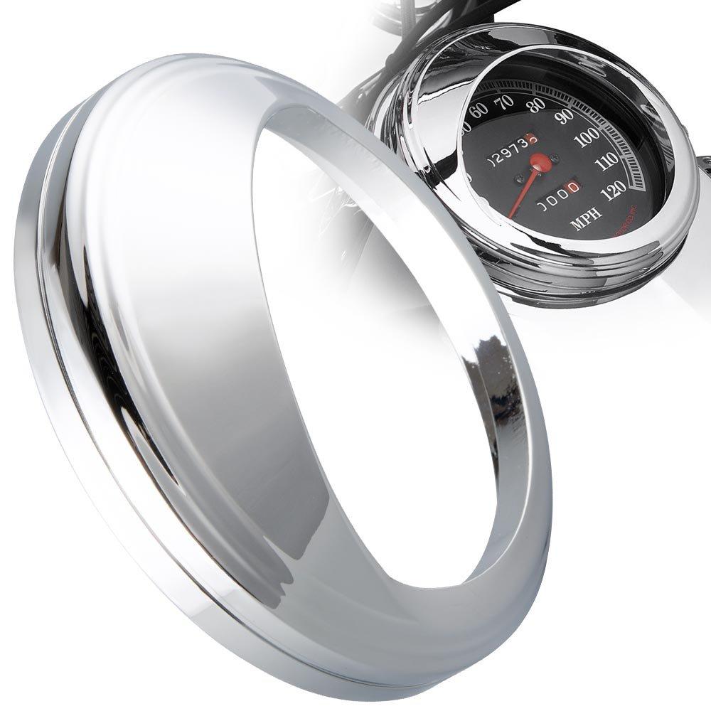 KiWAV for 5 inch Speedometer Gauge Tank Mounted Cover Trim Ring Bezel Aluminum Visor Style Chrome for Harley-Davidson by KiWAV