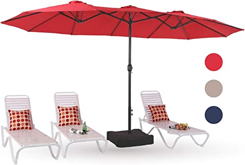 PHI VILLA 15ft Patio Umbrella Double-Sided Outdoor Market Extra Large Umbrella with Crank, Umbrella Base Included Red