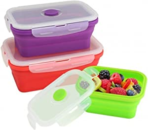 Home Locomotion 12010711 Silicone Stacker Food Container Set Of 3, Multicolor