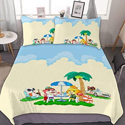 Bedding Duvet Cover Set,Full (80x90 inch), Animal Crossing New Horizons (6),3 Pieces Bedding Set,with Zipper Closure and 2 Pillow Shams,Cute Cartoon Bedroom Comforter Sets for Boys Girls,: Kitchen & Dining