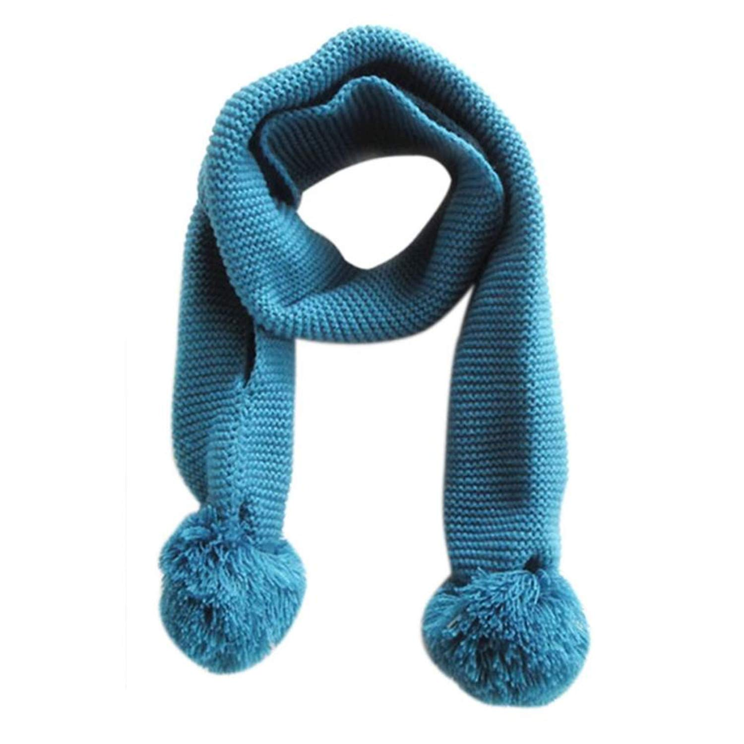 SDHEIJKY Baby Kids Cute Warm Winter Solid Color Double Ball Warm Knitting Scarf
