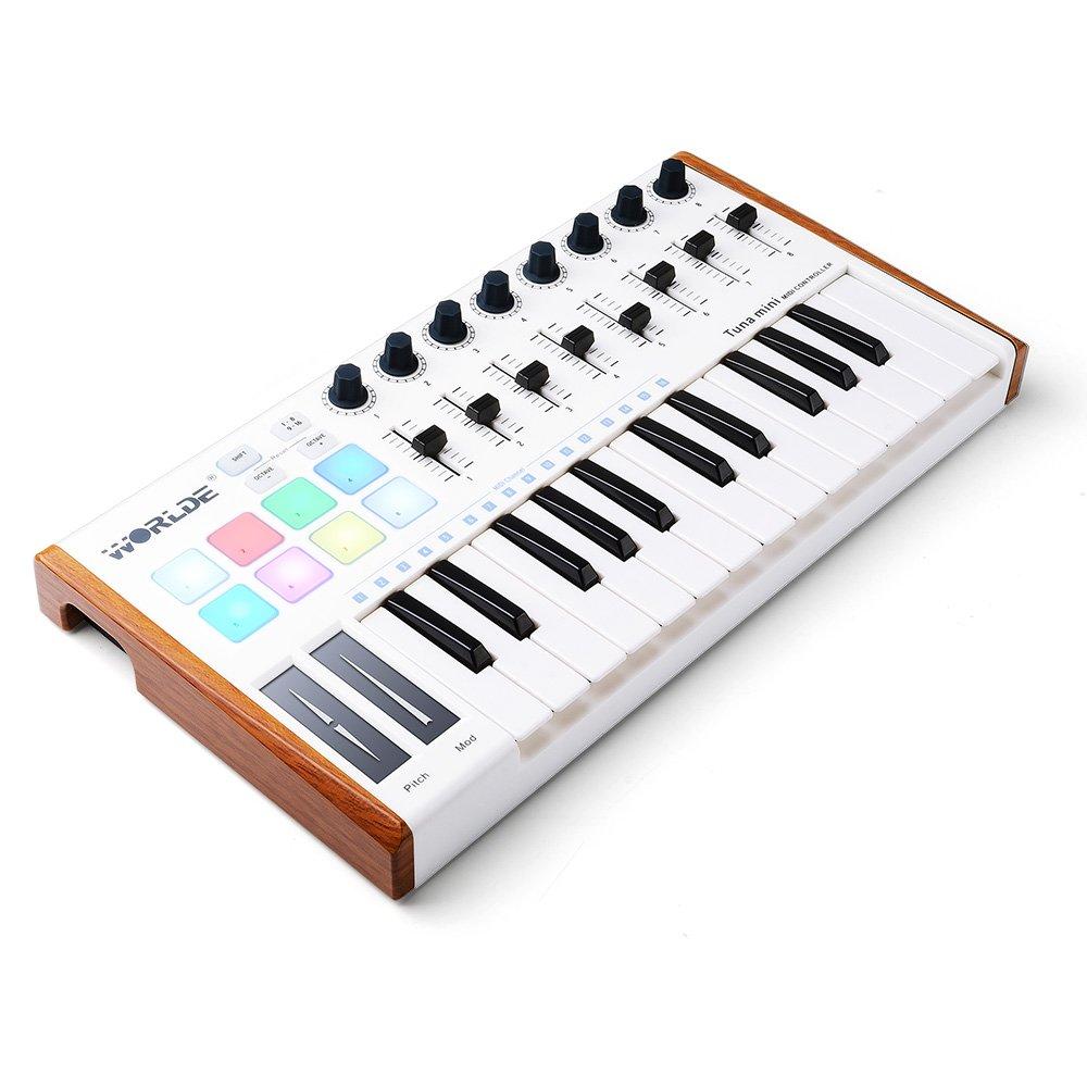 Worlde 25 Key USB Portable Tuna Mini MIDI Keyboard MIDI Controller (8 Knobs/8 Pads/8 Faders) with Wood Imitation Rim, Pedal Interface, for Mac and PC Vangoa TUNAMINI