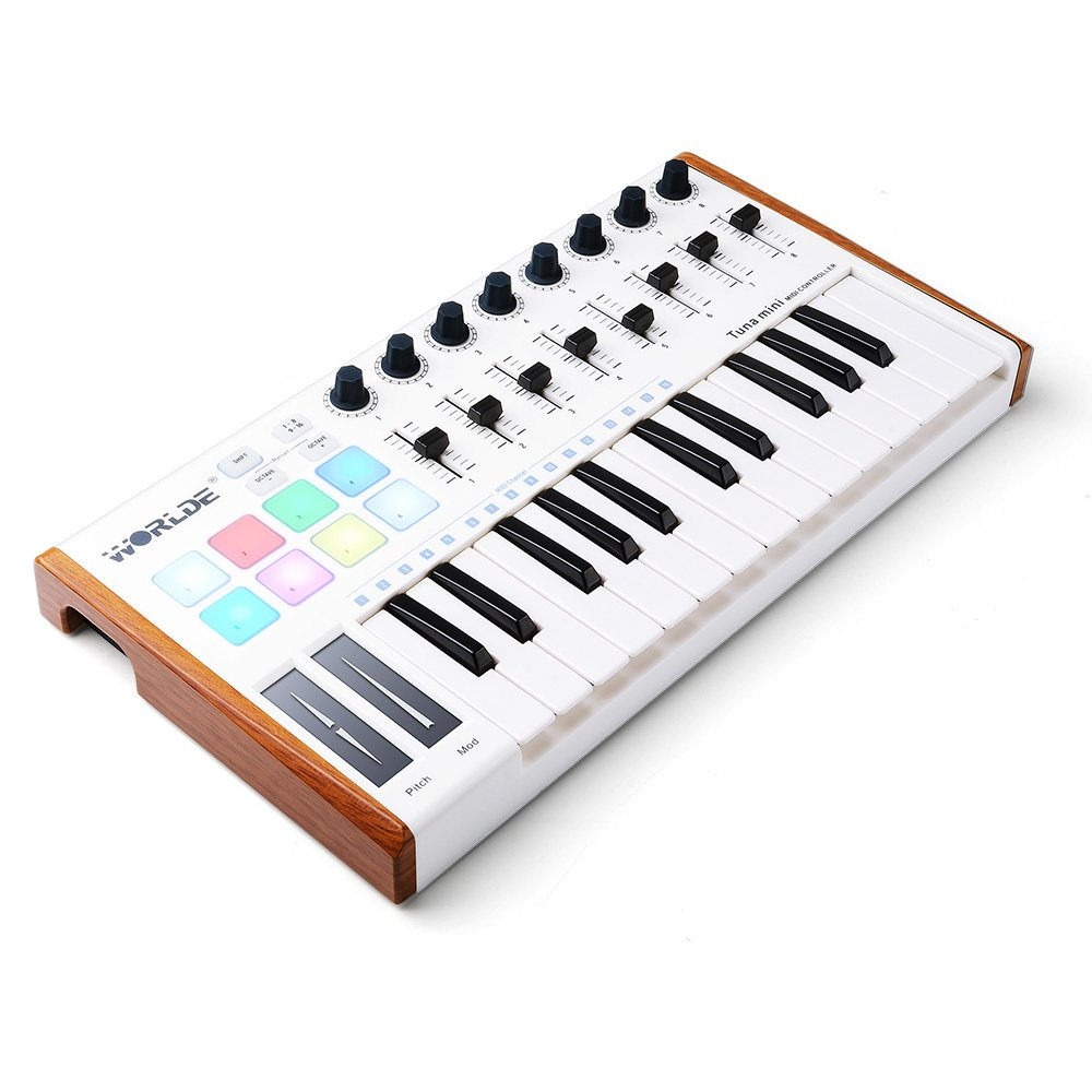 Worlde 25 Key USB Portable Tuna Mini MIDI Keyboard MIDI Controller (8 Knobs/8 Pads/8 Faders) with Wood Imitation Rim, Pedal Interface, for Mac and PC by Vangoa