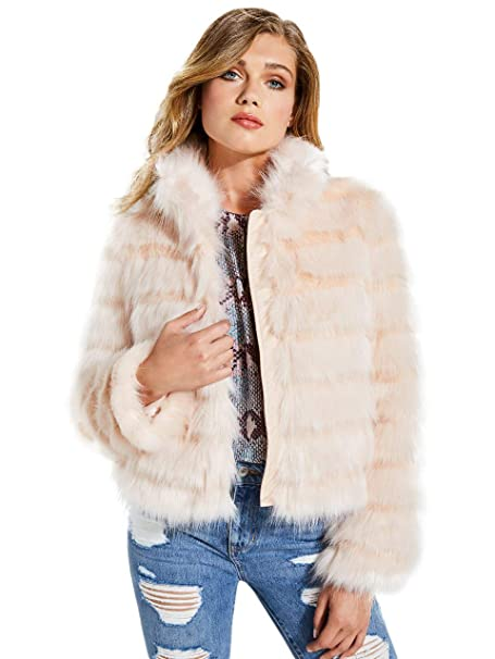 best website e4ee1 ee56c Guess Giacca in Pelliccia Sintetica Donna Rosa W84L58-WAWR0 Autunno/Inverno