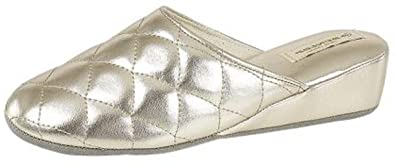 b31784483dde WOMENS DUNLOP WEDGE QUILTED MULE SLIPPERS SIZE 3 - 8 GOLD  Amazon.co ...