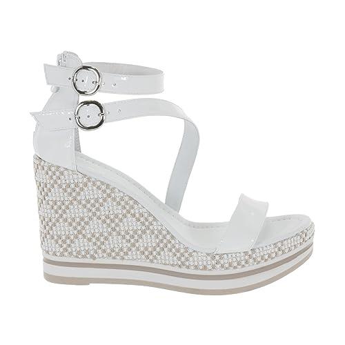 separation shoes 2e021 13ca3 SANDALI NERO GIARDINI SCARPE DONNA ZEPPA IN VERNICE BIANCO P805900D707 -  duradrusti.org