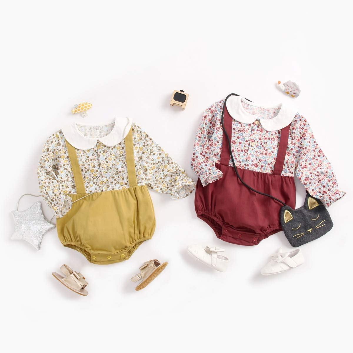 Sanlutoz Prinzessin Baby M/ädchen Strampelh/öschen Baumwolle Blume S/äuglingskleidung Lange /Ärmel