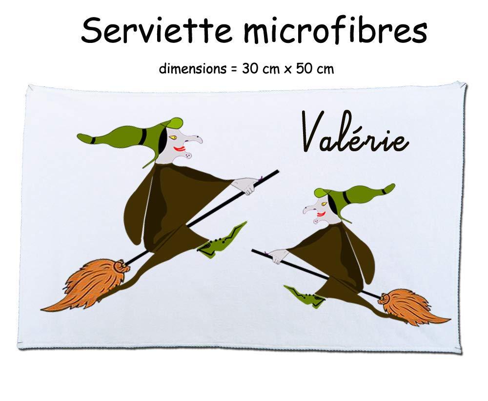 Texti-cadeaux-serviette microfibre (50 x 30 cm) Sorcière à personnaliser comme exemple Valérie