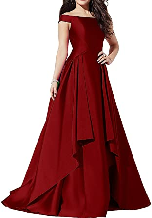 Wdress Elegant Off Shoulder Prom Evening Dresses A-line Long Formal Gown Dark Red US