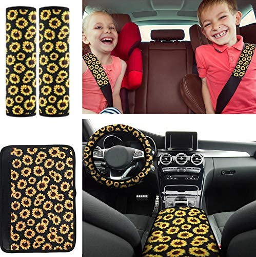 Sunflower Pattern Center pad Cover,2Pieces Car Cup Holder Coaster and 2Pieces Keyring,2 Pieces Car Vent XMSSIT 12Pieces Sunflower Accessories for Car Wheel Cover,2Pieces Car Front Seat Covers