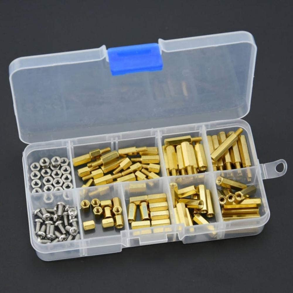 Color : 01 YJZG 120Pcs M3 Brass Standoff Spacer Board Hex Screws Nut Assortment Kit Female-Female Spacers Male-Female Spacers