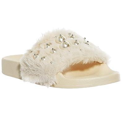 a3c44269285fc3 Women s Faux Fur Flip Flops Slide on Soft Flat Slipper Mule Sandals with  Pearl Decor (