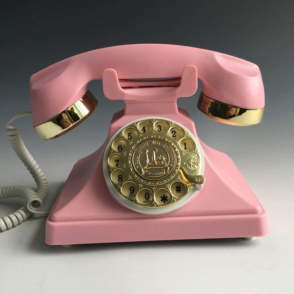 SMC Antiguo teléfono de marcación rotativa Oficina de Moda Oficina en casa con Cable inalámbrico Vintage teléfono Retro línea Fija: Amazon.es: Hogar