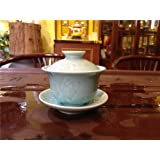 Sado Traditional Gaiwan Teacup (150ml/cyanic Colours Lotus Leaf)