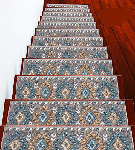 "Sussexhome Stair Treads Traditional Collection Contemporary, Cozy, Vibrant and Soft Stair Treads | Teal & White, 9"" x 28"" 