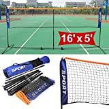 Popamazing 5m outdoor portable Foldable Badminton Tennis Net Adjustable Volleyball Net with stand poles