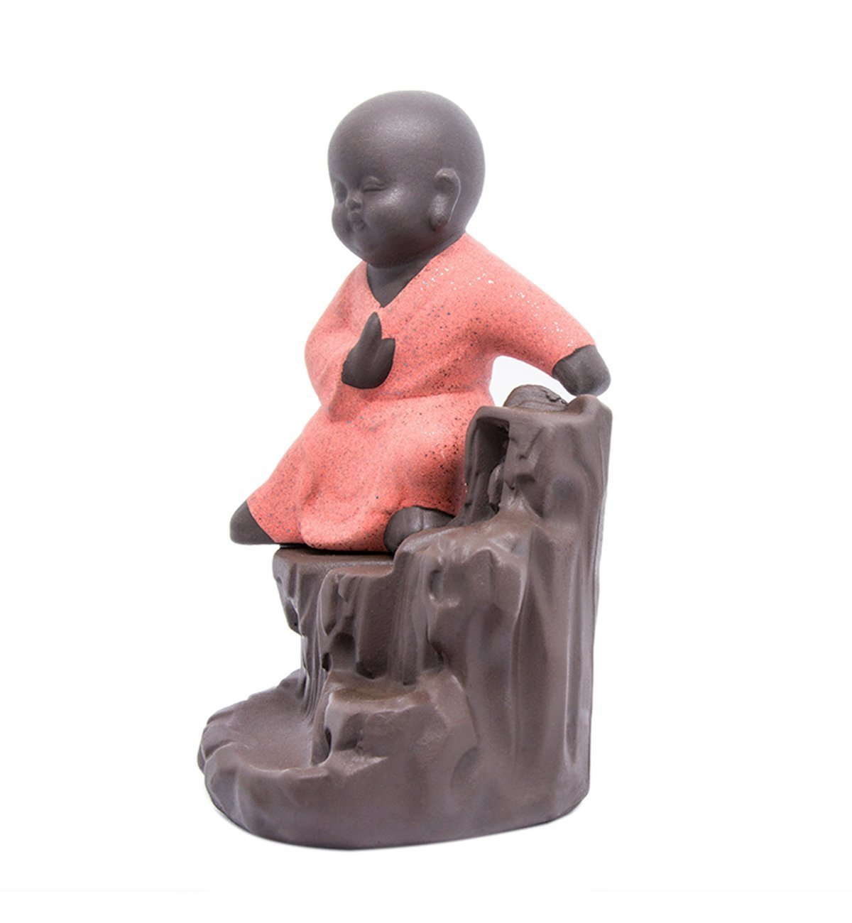 CORCIO Incense Burner Backflow Tower Cones Sticks Holder Ceramic Porcelain Buddha Monk Ash Catcher-IN008Red