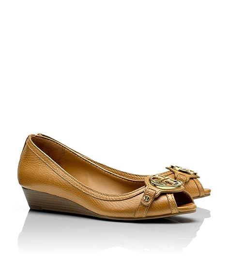 3f786ef23cc Tory Burch Leticia Wedge Shoes Leather Open Toe TB Logo Pump Heel (8.5B