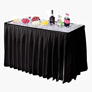 Modern Home 4' Portable Folding Party Ice Bin Table with Skirt - Black