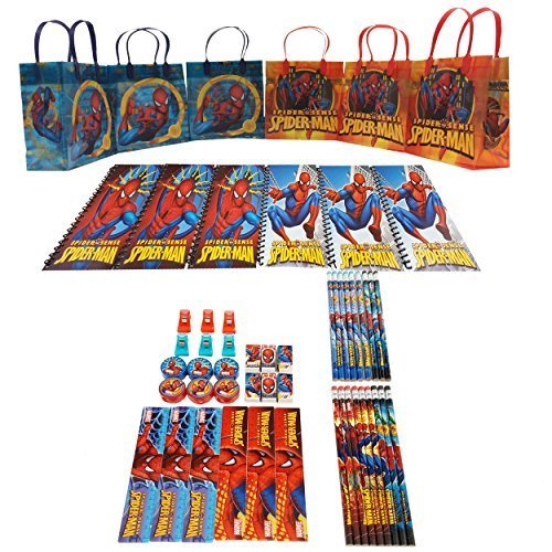 Spiderman Goody Bag Stationery 54pc Set (6 Favors) ()