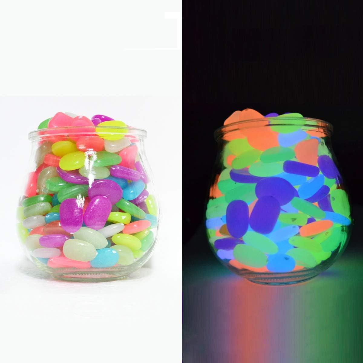 VKEDA Glow in The Dark Pebbles 200 Pcs, Stones for Garden/Landscaping/Fish Tank/Plant Pots/Yard Plant Decorations