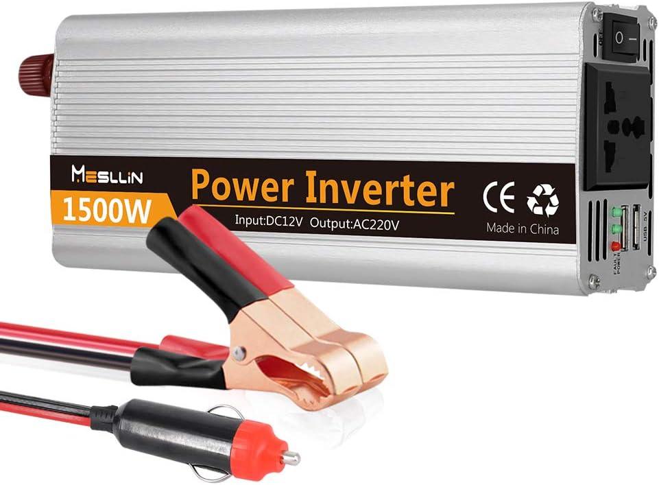 Inversor de energía de onda sinusoidal modificada Mesllin 1500W (3000W Peak) Transformador de convertidor de energía auto automática para automóvil DC 12V a AC 240V