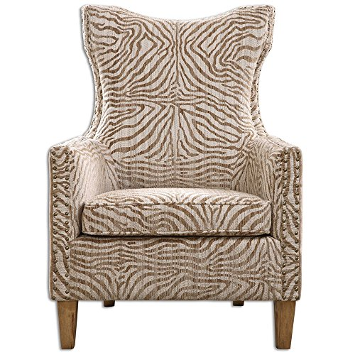 My Swanky Home Beige Jungle Print Zebra Arm Chair | Contemporary Animal Pattern