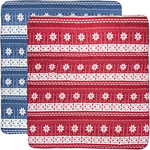 DG Home Goods (2 Pack) Soft Fleece Throw Blankets Red And Blue 50x60 Pet Travel Kids Picnic Warm ()