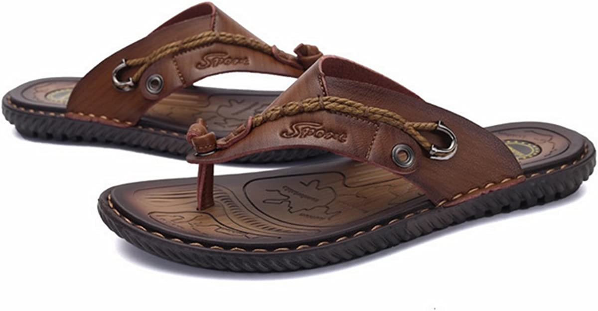 PINUO Mens Leather Sandals 2016 Summer Korean Version of Casual Leather Sandals Outdoor Slippers