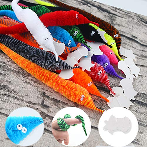 LovesTown 14 Pcs Magic Worm Toys,Wiggly Fluffy Worms Fuzzy Worm on a String Carnival Party Favors for Kids Cat