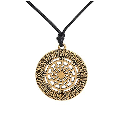 Skyrim Viking Tailmen Norse Runes Amulet Round Charms Wax Cord