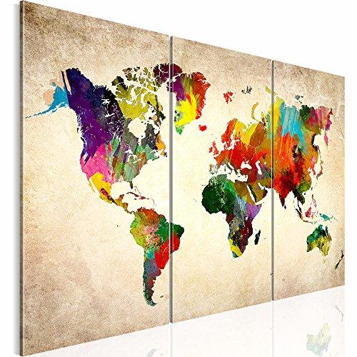 Weltkarte SENSATIONSPREIS !!! 120x80 cm !!! 100 % MADE IN GERMANY !!! Wasserfester Leinwanddruck XXL Bilder Vlies Leinwand Wandbild world map Fertig Aufgespannt Kreativ Deko -1051339a-