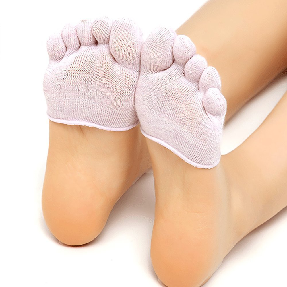 Half Palm Socks Five Finger Yoga Sock Women Anti-Slip Semi Invisible Cotton Socks Beige)