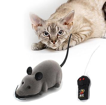 Lomire Juguete de Mini Ratón Divertido con Electrónico Control Remoto para Gatos Perros, Gris: Amazon.es: Productos para mascotas