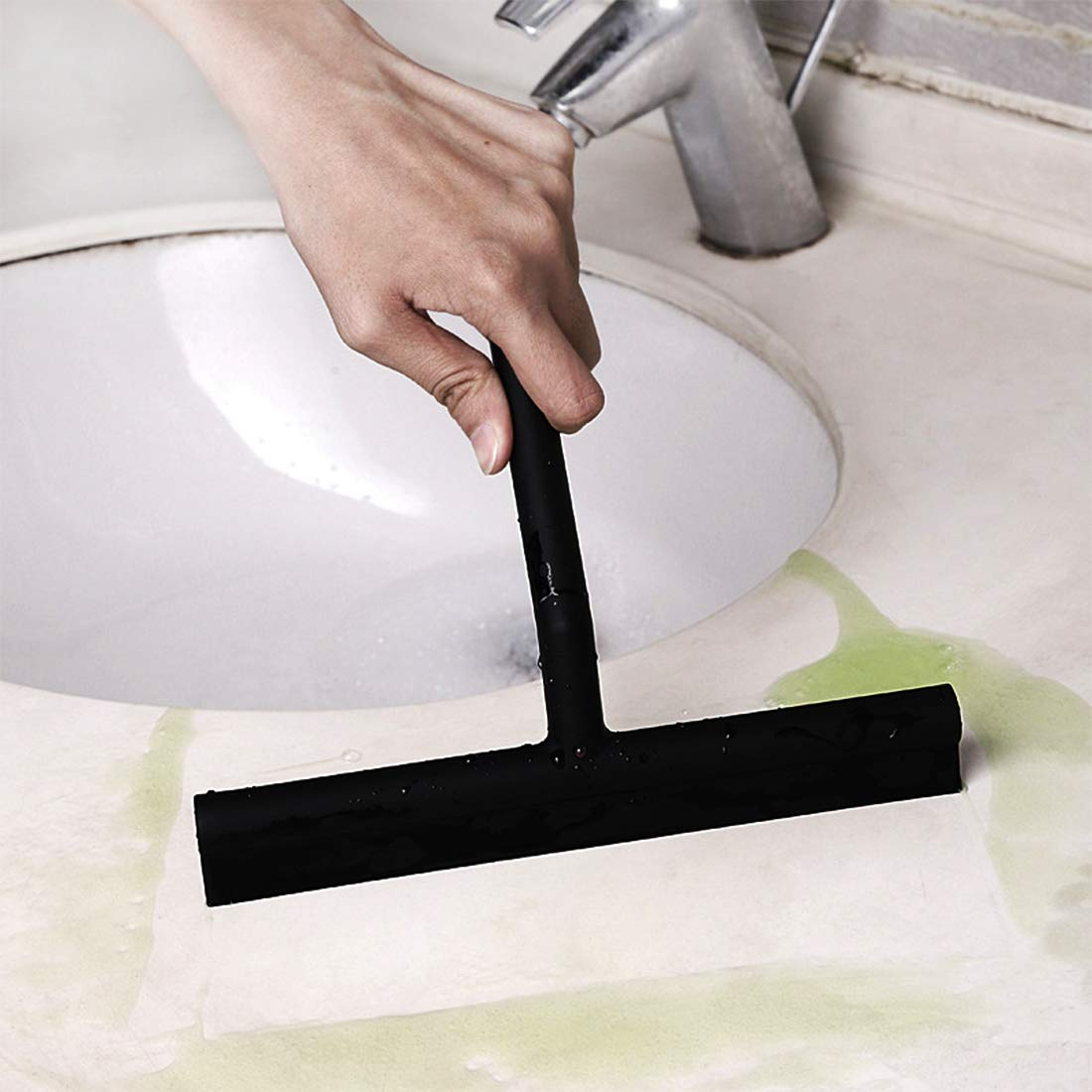 One-Piece Molding Bathroom Shower Squeegee with Hook for Shower Doors//Kitchen//Window//Car Glass//Mirror,Cleaning Brush Wiper Silicone Scraper,Rustproof,8-Inch Black