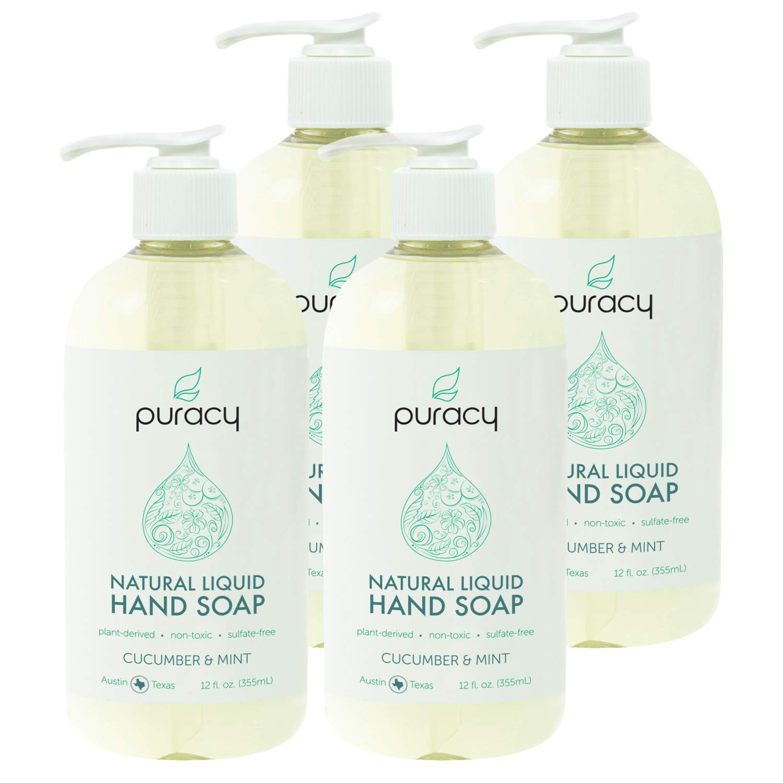 Puracy Natural Liquid Hand Soap, Cucumber & Mint, Vegan Gel Hand Wash, 12 Ounce (4-Pack)