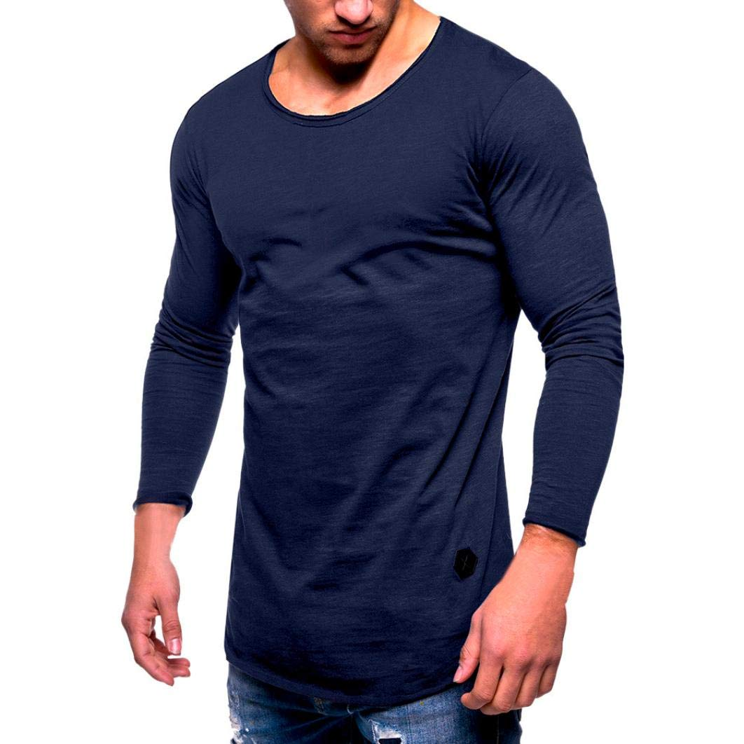 iOPQO Sweaters Men, Slim Fit O Neck Long Sleeve Muscle Cotton Casual Blouse