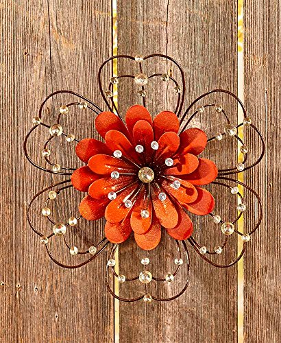 The Lakeside Collection Jeweled Metal Wall Flowers   Orange
