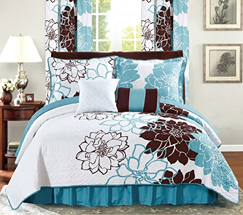 All American Collection New 4 Piece Printed Reversible Bedspread Set with Dust Ruffle (Turquoise/Brown, Twin Size)
